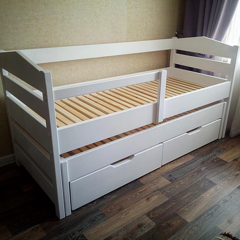 Детская кровать с дополнительной выкатной кроватью и ящиками (массив сосны)
